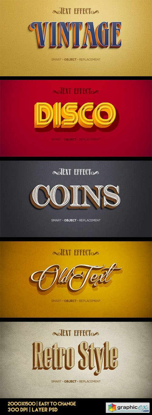 5 Retro Vintage Text Effects PSD Templates » Free Download Vector