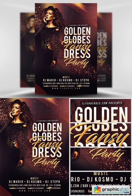 golden globe fancy flyer template free download vector stock image