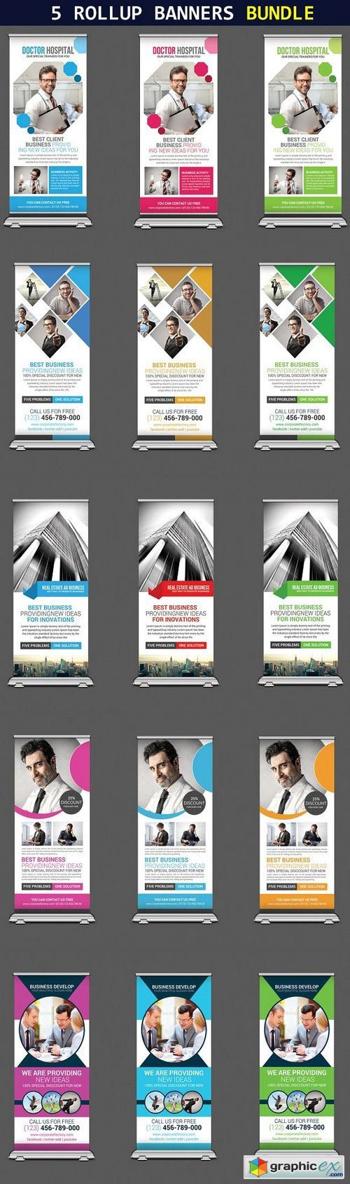 5 Business Corporate Rollup Banners