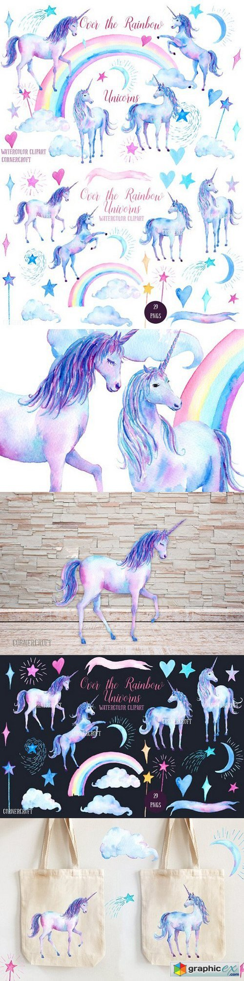 Watercolor Clipart Unicorns