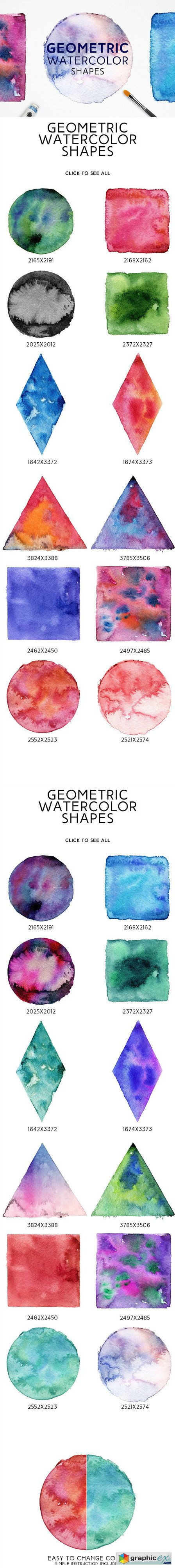 Geometric Watercolor Shapes