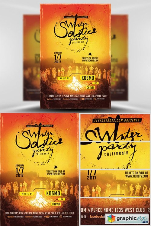 Winter Solstice Party Flyer Template
