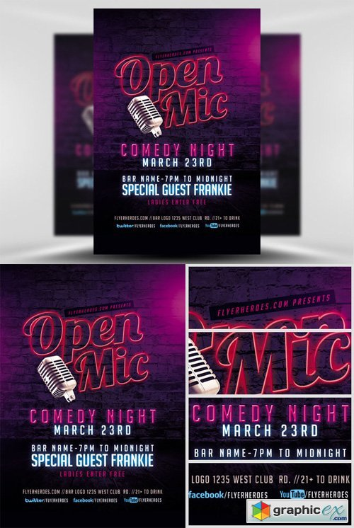 Open Mic Comedy Night Flyer Template 2