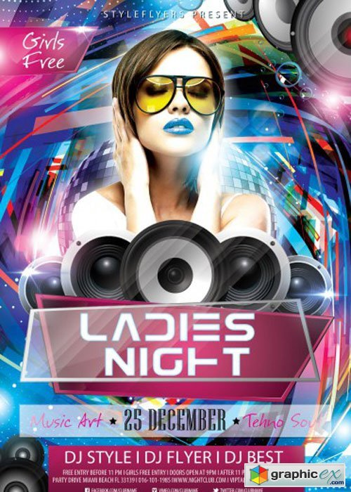 Ladies Night PSD V10 Flyer Template with Facebook Cover
