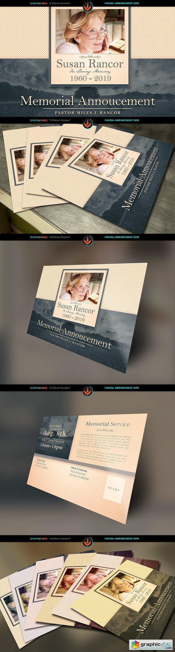funeral announcement cards funeral postcard printing - 580×2154