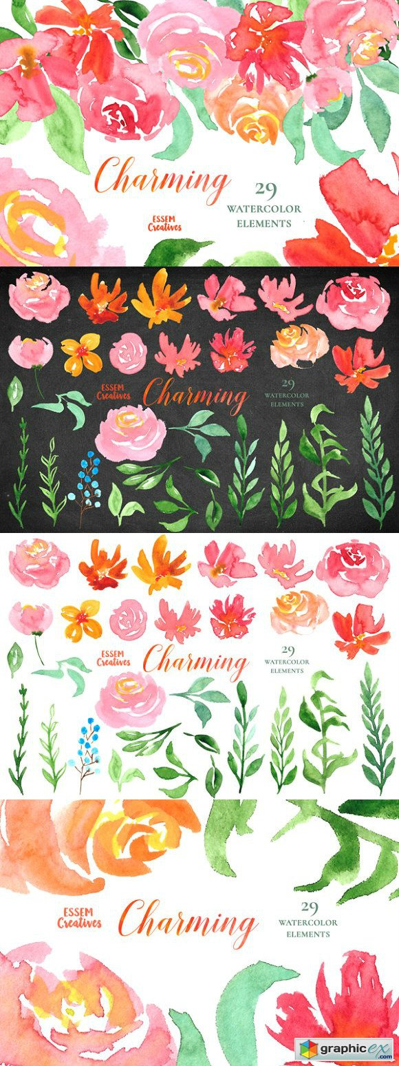 Pink Florals Watercolor Clipart Set