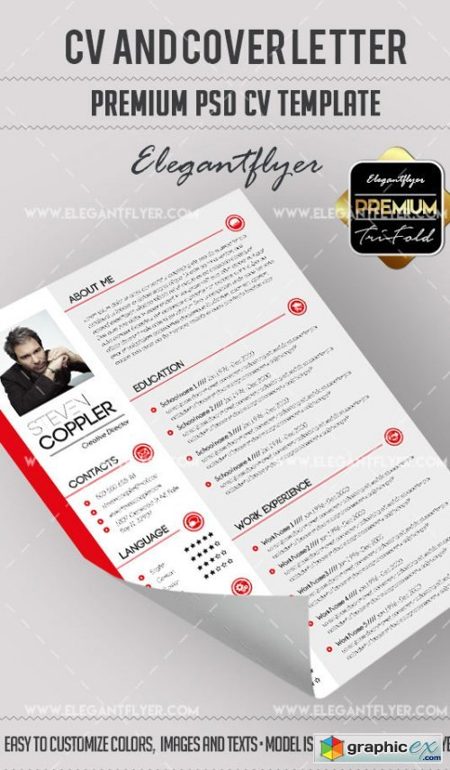 CV Premium CV and Cover Letter PSD V15 Template