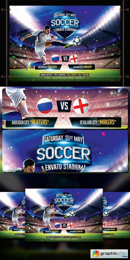 Soccer Flyer Template   Free Download Vector Stock Image