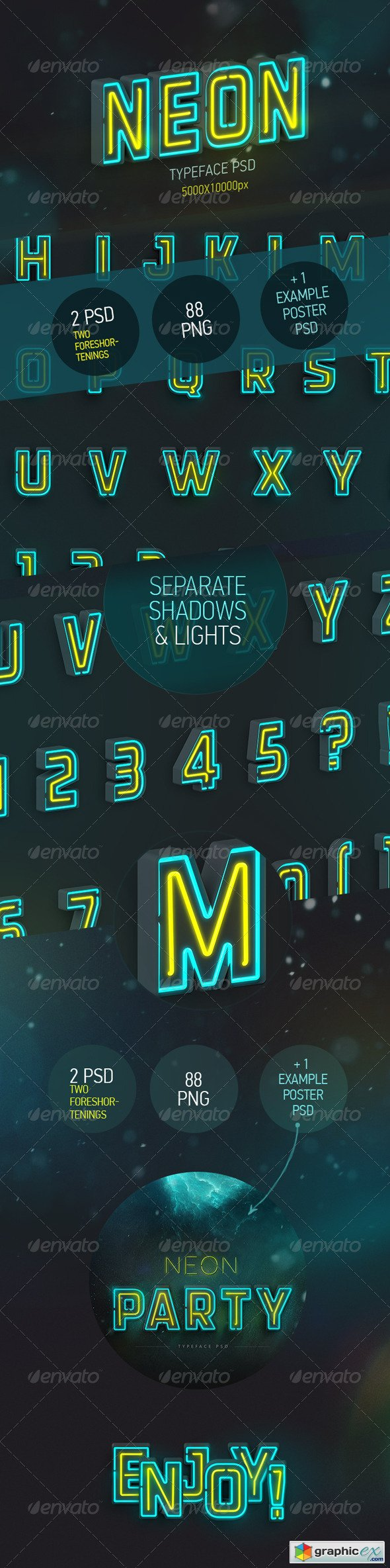 Neon Typeface (3 PSD, 88 PNG)