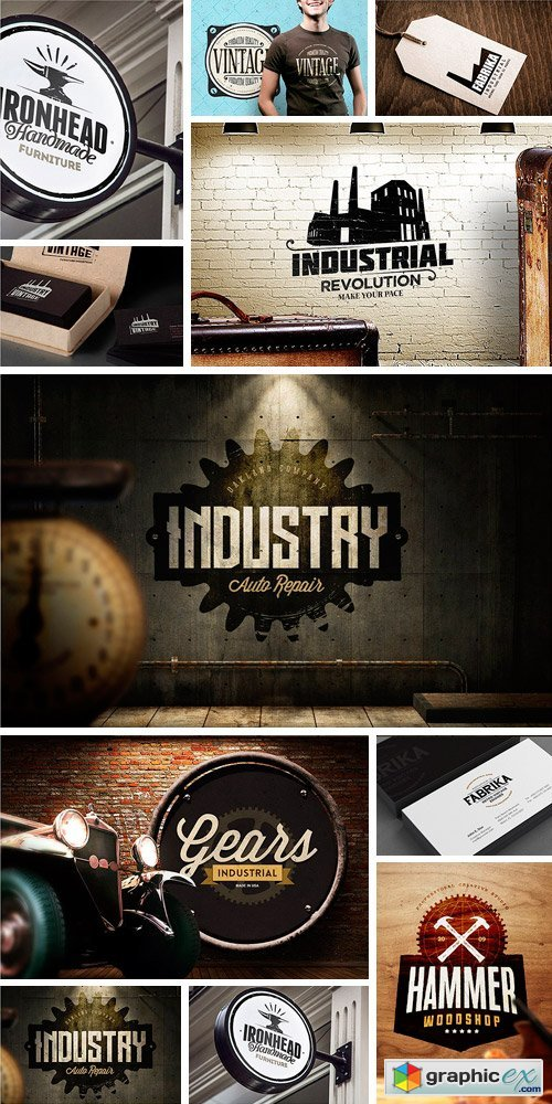 Vintage Industrial Logo Design » Free Download Vector Stock Image