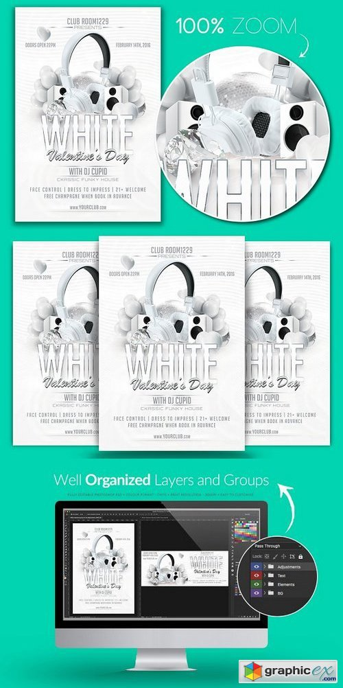 White Valentine's Day Flyer Template