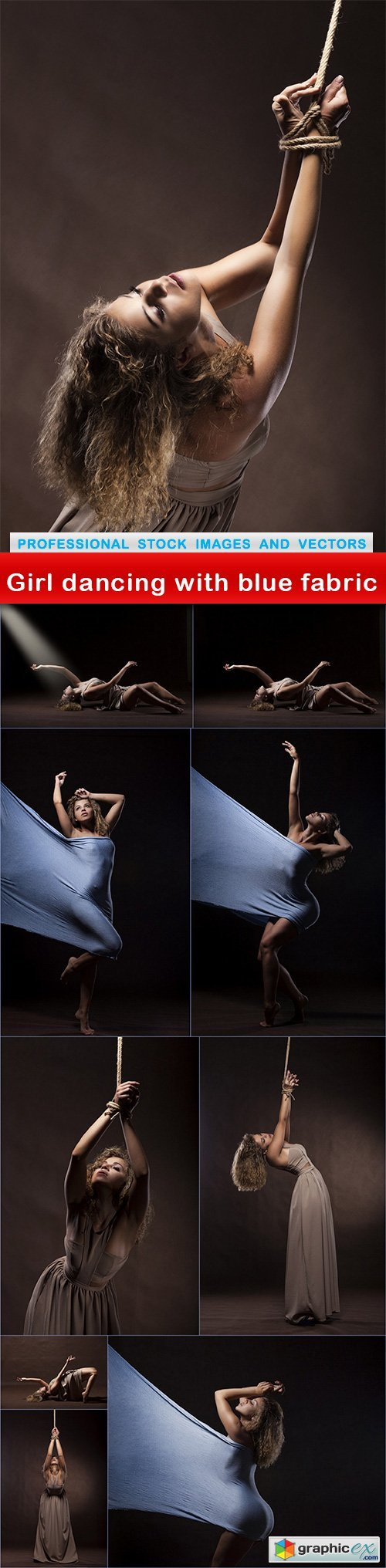 Girl dancing with blue fabric - 10 UHQ JPEG