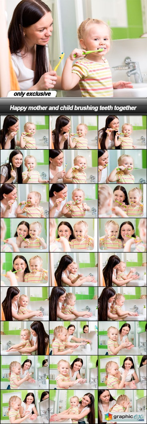 Happy mother and child brushing teeth together - 28 UHQ JPEG