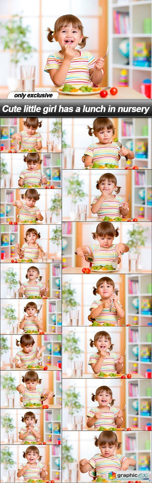 Cute little girl has a lunch in nursery - 17 UHQ JPEG