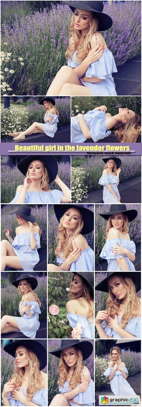 Beautiful girl in the lavender flowers