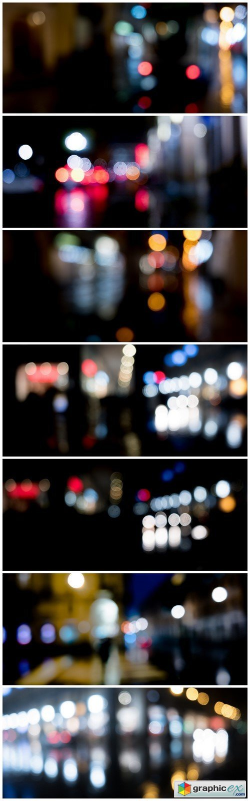 Night lights of the city Blurred Background 7X JPEG