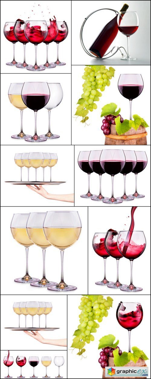 Set from glasses with wine 11X JPEG