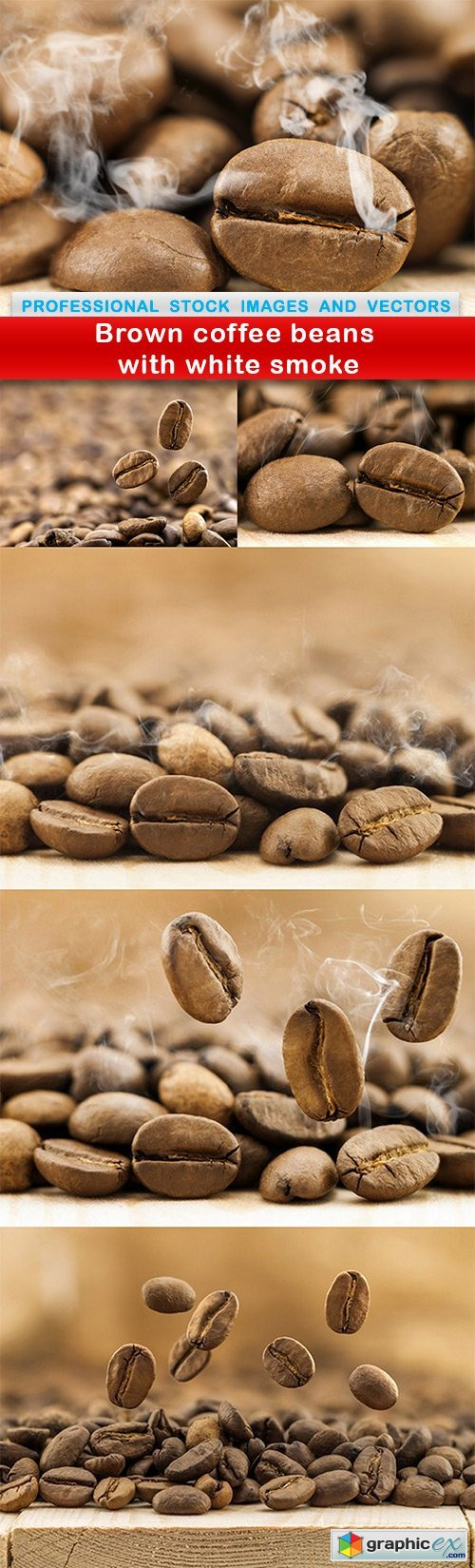 Brown coffee beans with white smoke - 6 UHQ JPEG