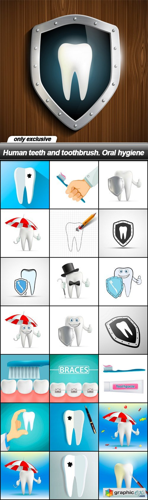 Human teeth and toothbrush. Oral hygiene - 22 EPS