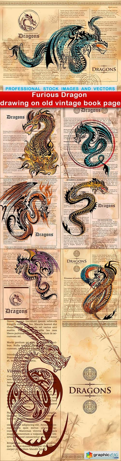 Furious Dragon drawing on old vintage book page - 8 EPS