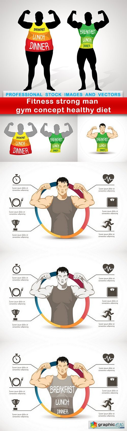 Fitness strong man gym concept healthy diet - 6 EPS