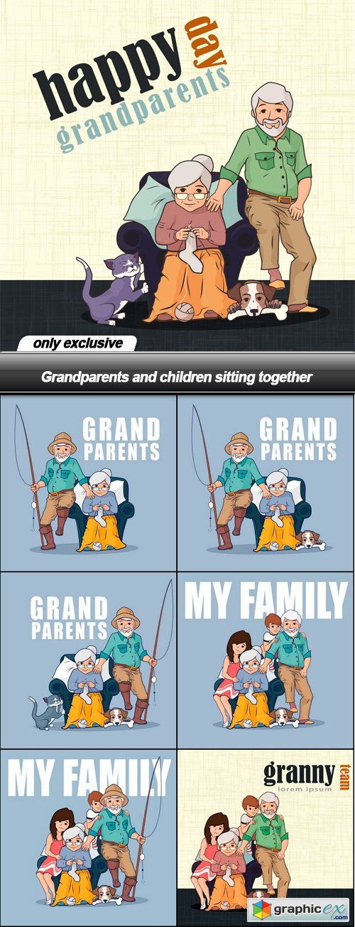 Grandparents and children sitting together - 7 EPS