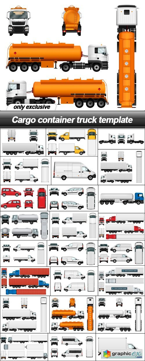 Cargo container truck template - 24 EPS