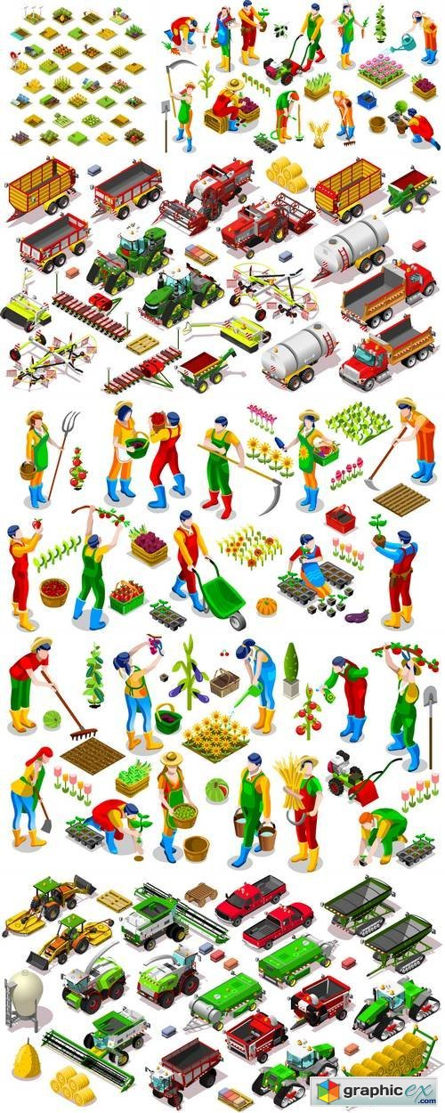 Isometric Farm Vehicle and Farmer People