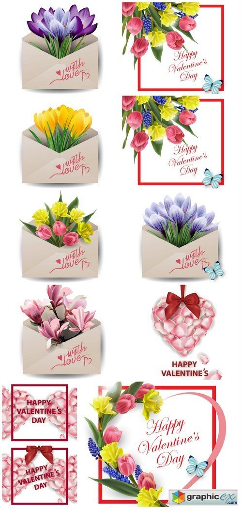 Valentines Day Card Colorful spring flowers in envelope 11X EPS