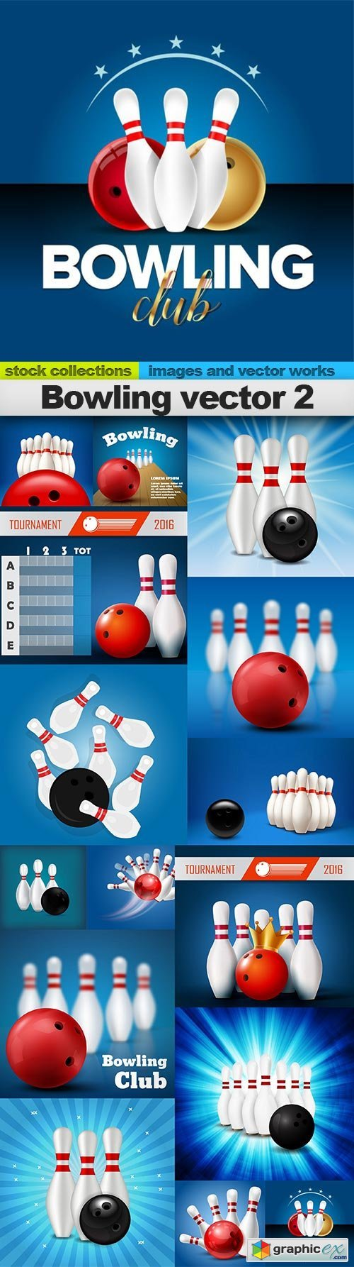 Bowling vector 2, 15 x EPS