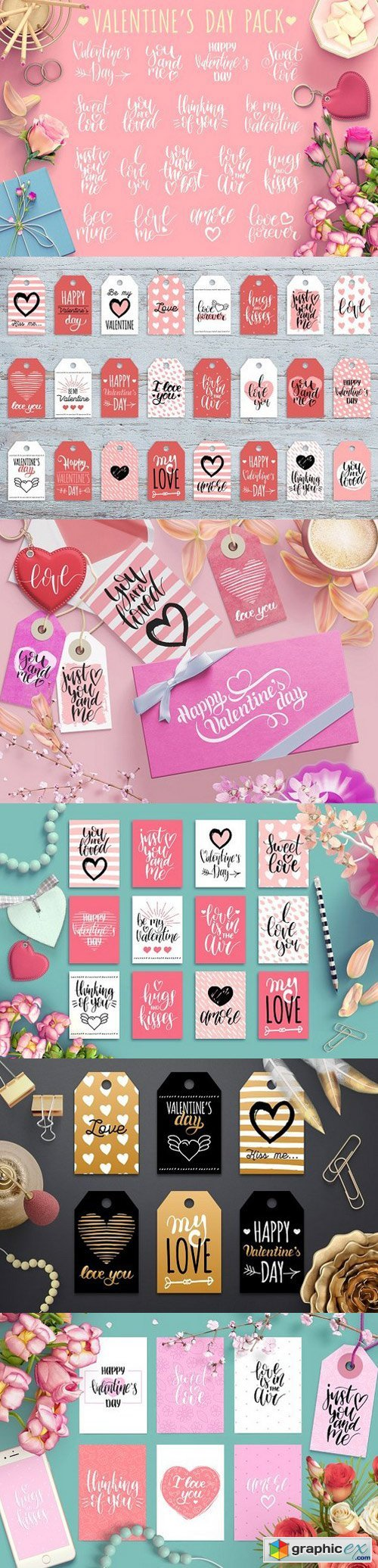 Valentine's day lettering and cards
