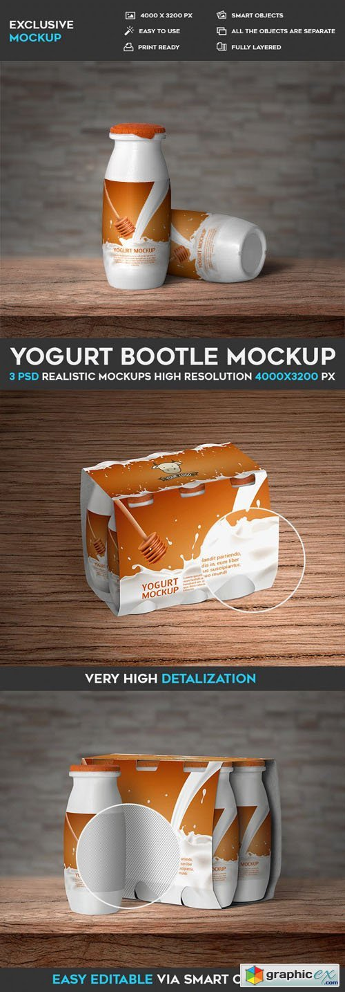 Yogurt Bottle PSD Mockup Template
