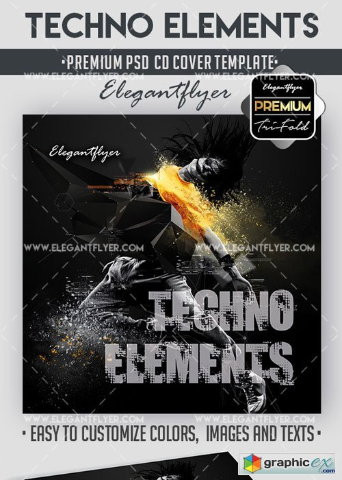 Techno Elements Premium CD Cover PSD V17 Template