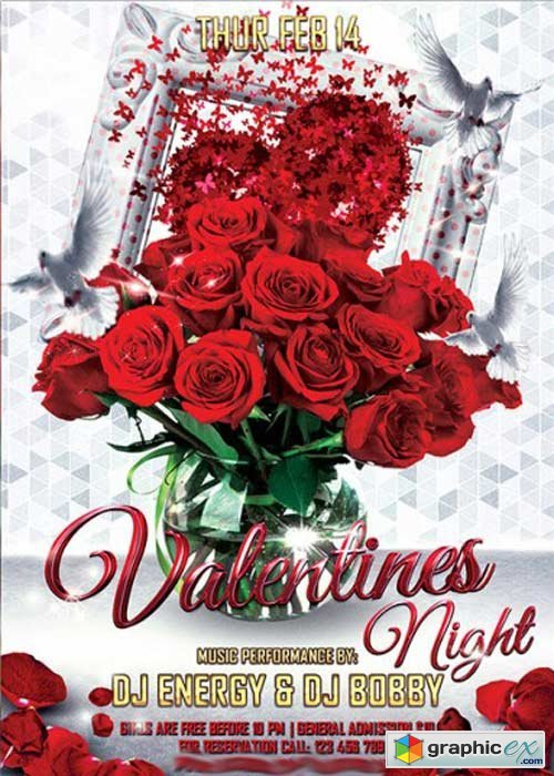 ElegantFlyer - Valentines Night Premium Flyer Template + Facebook Cover