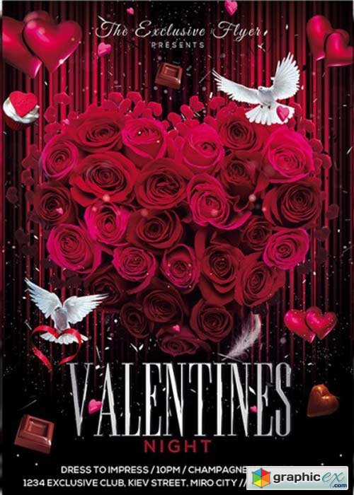 ElegantFlyer - Exclusive Valentines Night Premium Flyer Template + Facebook Cover