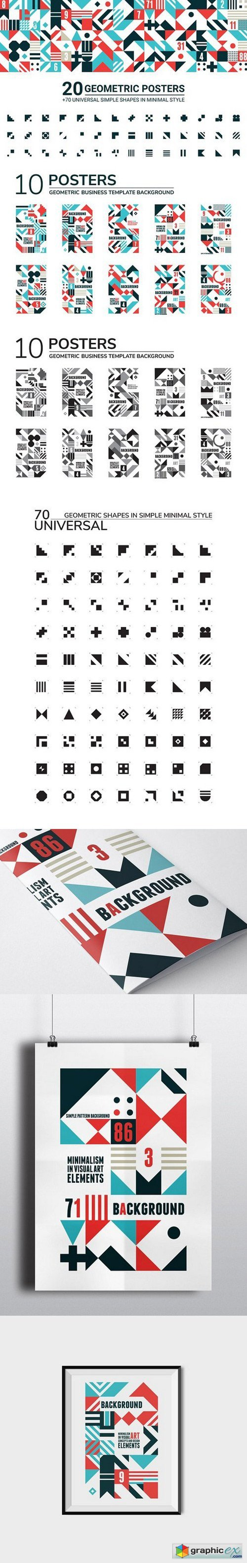 20 GEOMETRIC POSTERS & 70 SHAPES 1174725