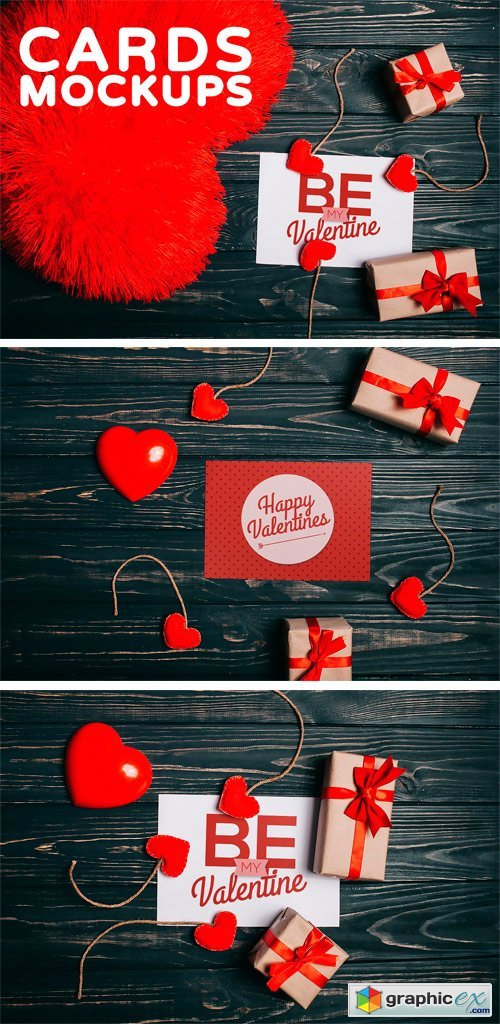 Valentine's Day Gift Cards Mock-ups