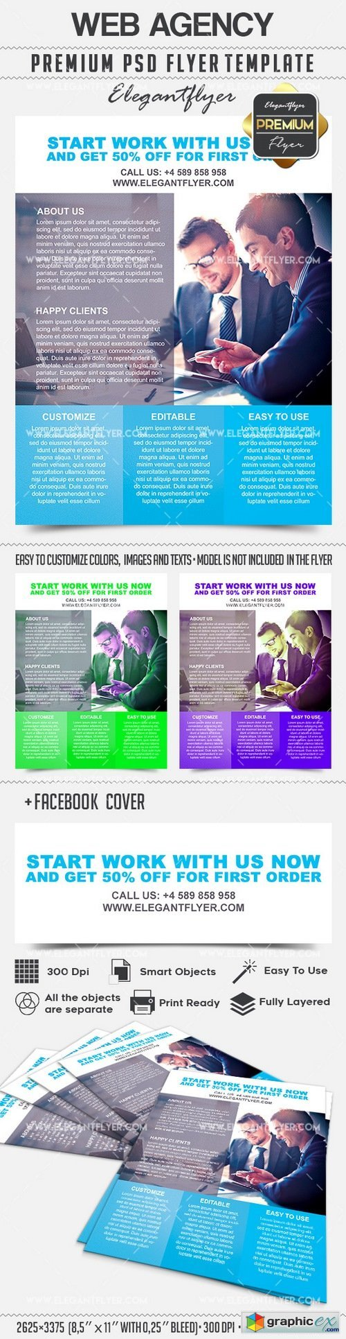 Web Agency � Flyer PSD Template + Facebook Cover