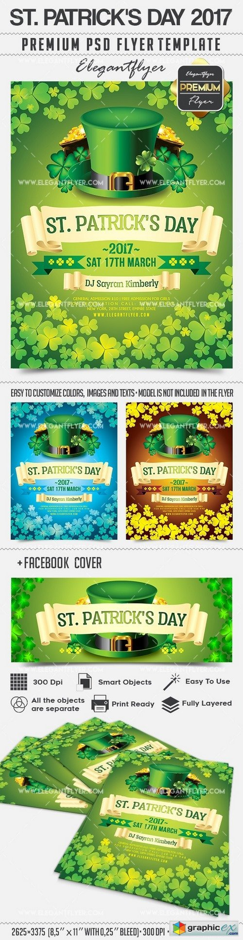 St. Patrick�s Day 2017 � Flyer PSD Template + Facebook Cover
