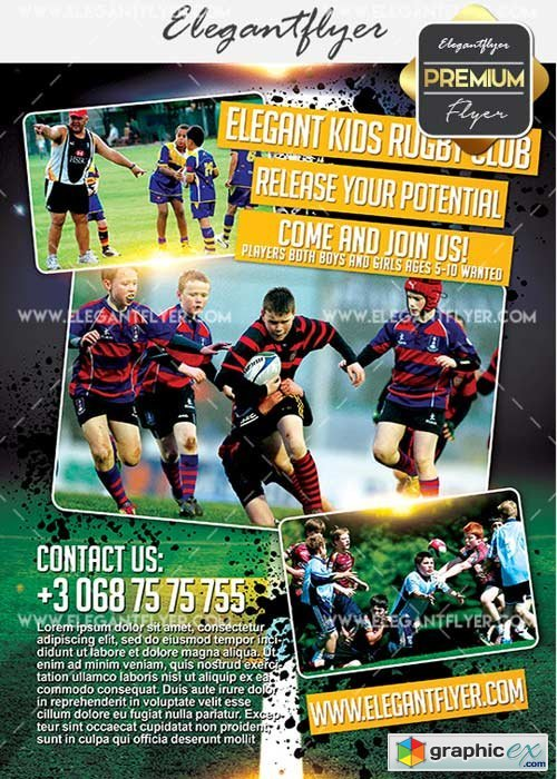 Childrens Rugby Club V5 Flyer PSD Template + Facebook Cover
