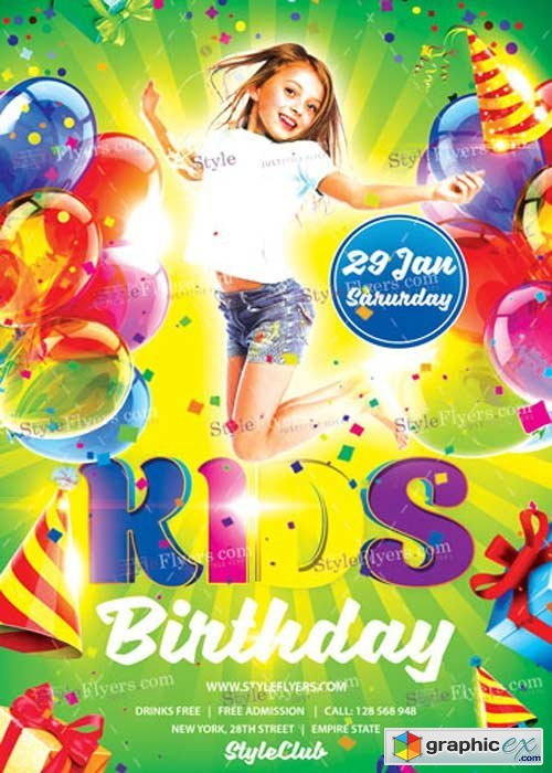 Kids Birthday V15 PSD Flyer Template
