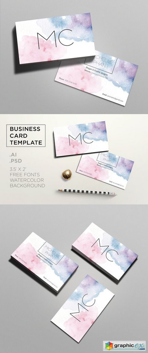 Creative watercolor business card 1106824