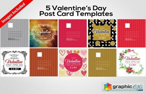 5 Valentines Day Post Cards