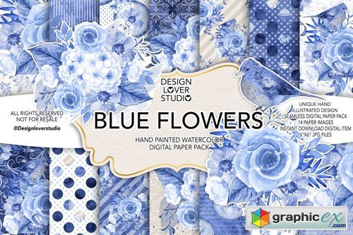 Watercolor BLUE FLOWERS Digital Paper Pack