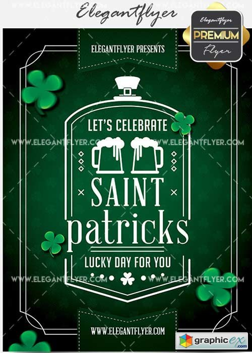 Minimal St. Patricks Party v11 Flyer PSD Template + Facebook Cover