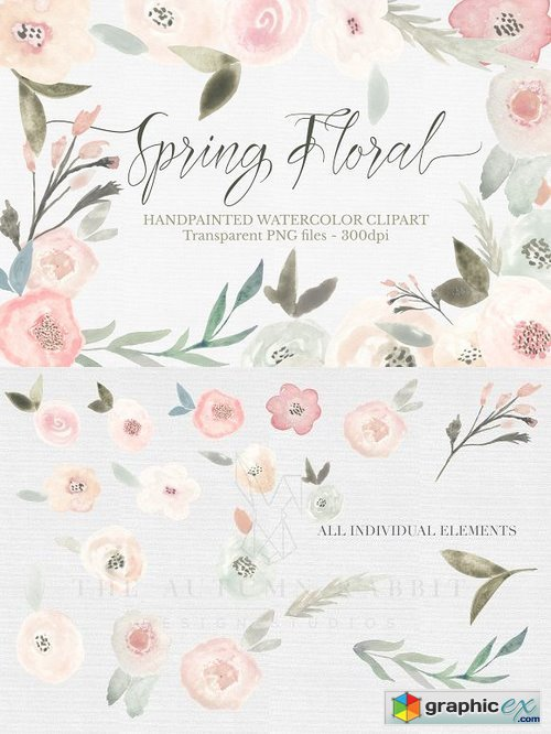 Spring Floral Watercolor Clipart Set