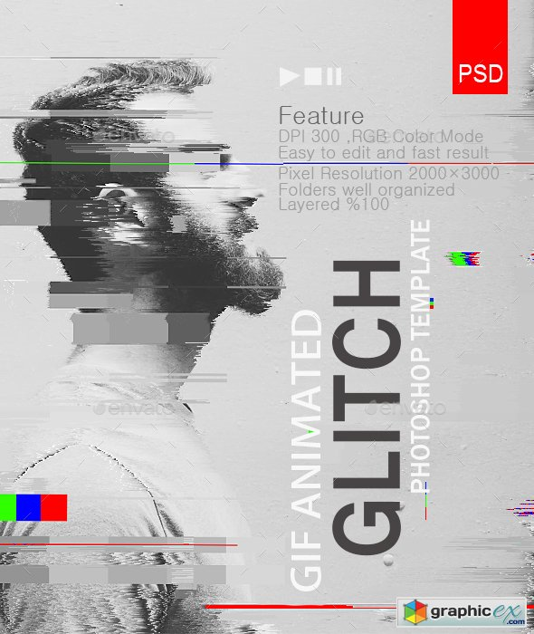 Gif Animated Glitch Photoshop Templates
