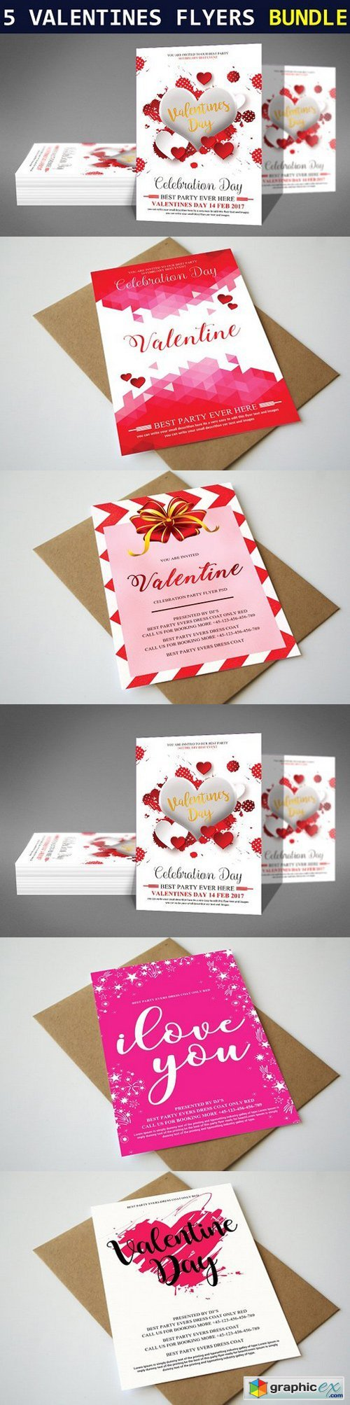 5 Valentines Day Flyers Bundle