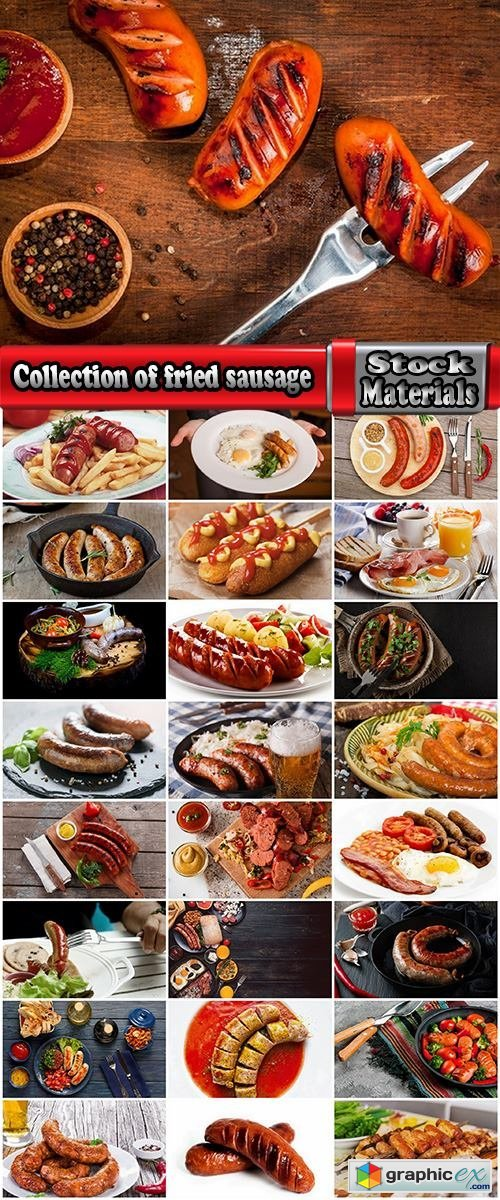 Collection of fried sausage quick breakfast grilled barbecue German sausages 25 HQ Jpeg