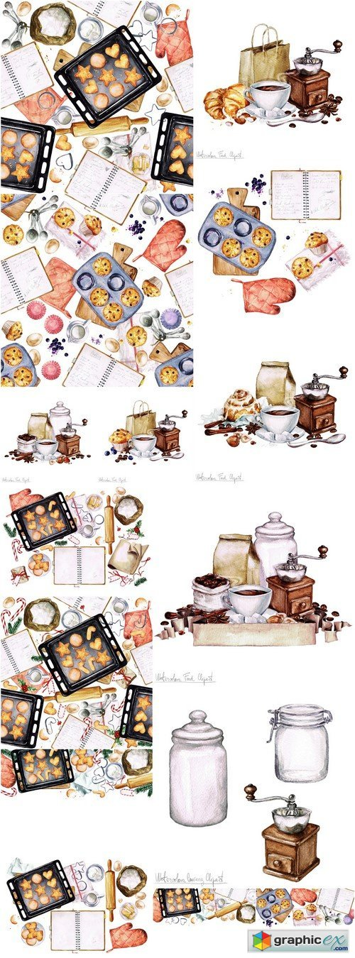 Coffee with cookies painted watercolor 15X JPEG
